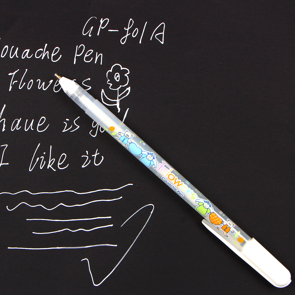 4Pcs/lot 0.8mm White Ink Color Photo Album Gel Pen For Kids Writing Stationery Gift Office Supplies