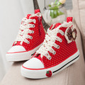 Fashion Simple Design Euro Size 25-27 denim canvas children choes spring girls bowknot canvas sneakers free shipping