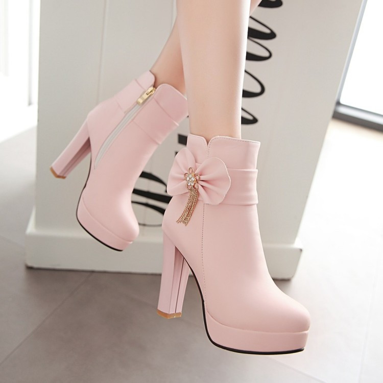 8_2016 Autumn Korean Womens Pink Dress Booties Shoes Princess Bow High Heels Black And White Platform Ankle Boots For Winter