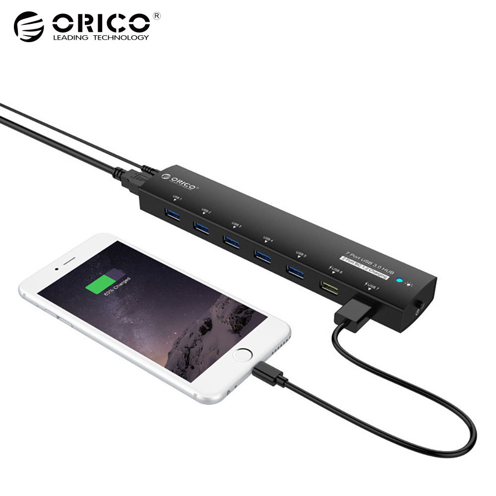 ORICO USB 3.0 HUB 5Gbps 7 Ports Super Speed Power Adapter Splitter 2 BC1.2 Charging Port for Desktop Windows XP Vista Linux orico m3h73p aluminum usb hub splitter super speed 5gbps 7 usb3 0 ports 3 usb charging ports for charging