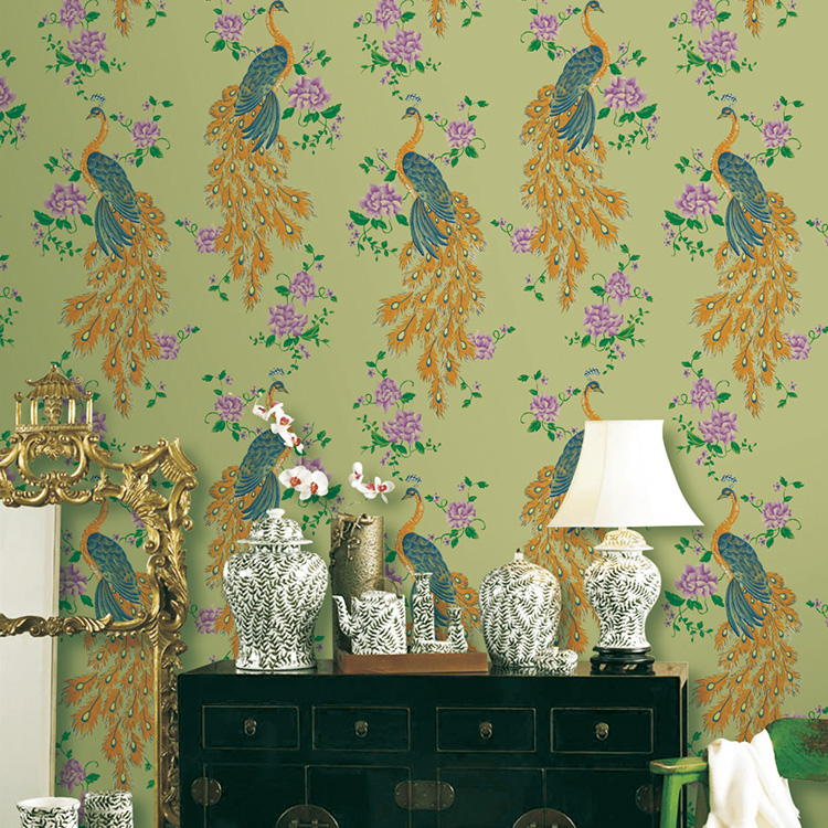 Modern Chinese Style Peacock Wallpaper For Walls Vinyl Living Room Bird Wallpaper Wall Paper Roll non woven bubble butterfly wallpaper design modern pastoral flock 3d circle wall paper for living room background walls 10m roll