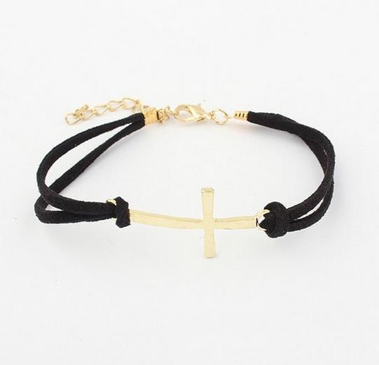 Charm Simple Double Layer Leather Bracelet Women Cross Bracelets Cheap Jewelry Best Friends Gift 5B077