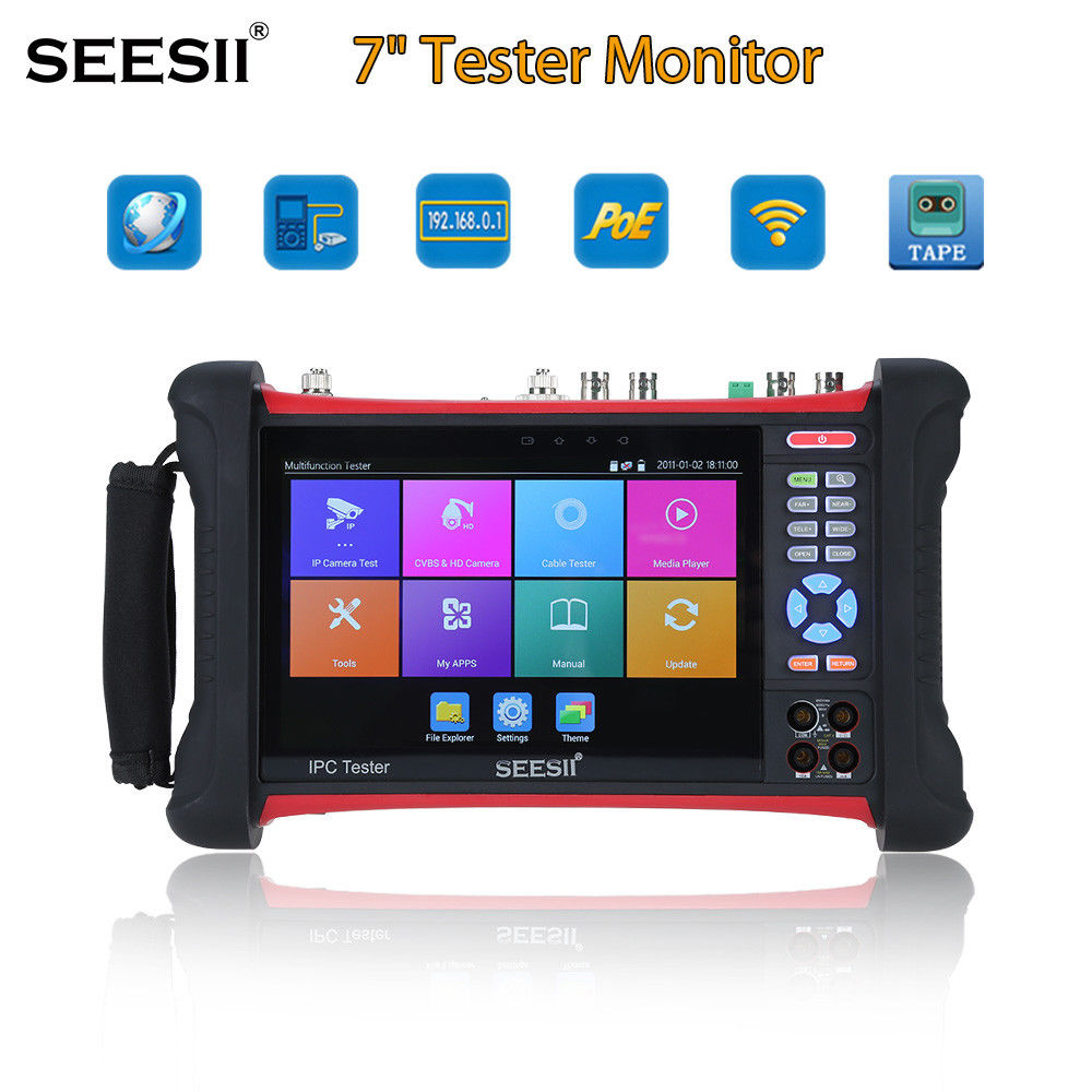 SEESII X7MOVTADHSPLUS 7Touch Screen 4K Tester Monitor IPC TVI CVI Security CCTV Camera Test H.264 Control IP Discovery Wifi 8GB