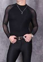 Men See Through Sexy Shirt Mesh Dots Pattern Perspective Long Sleeve Black See Through Slim Elastic