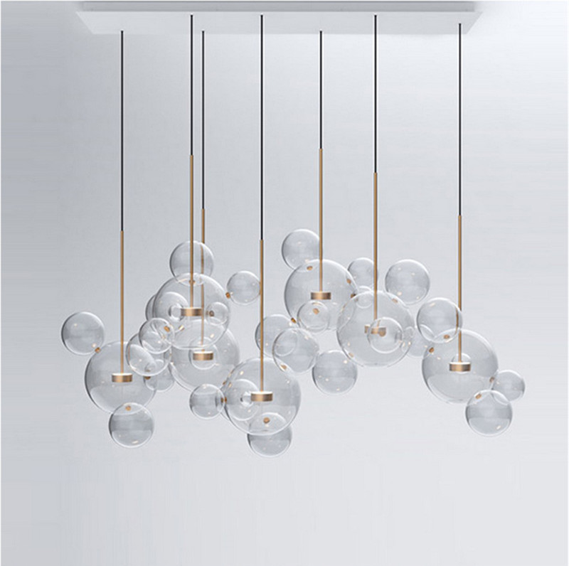 Triple Crystal Bubble Shade LED Ceiling Pendant Light Fixture Modern Home Lamp
