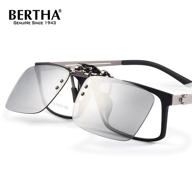 Bertha Men s Business Fashion Flip Up Polarized Sunglasses Clip On Myopia  Glasses Day Night Vision Goggles Sun Glasses UV400 a687a4ae14