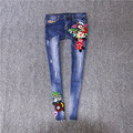 Europe winter of 2016 new female  heavy flower embroidery folk style denim trousers female tide pencil jeans