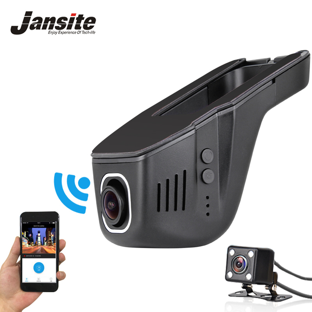 Jansite Автомобильный Видеорегистратор Мини Wi-Fi Камеры Автомобиля Full HD 1080 P Тире Cam Регистратор Видеорегистратор Видеокамера с Двумя Объективами Dvr Приложение Управления 2017