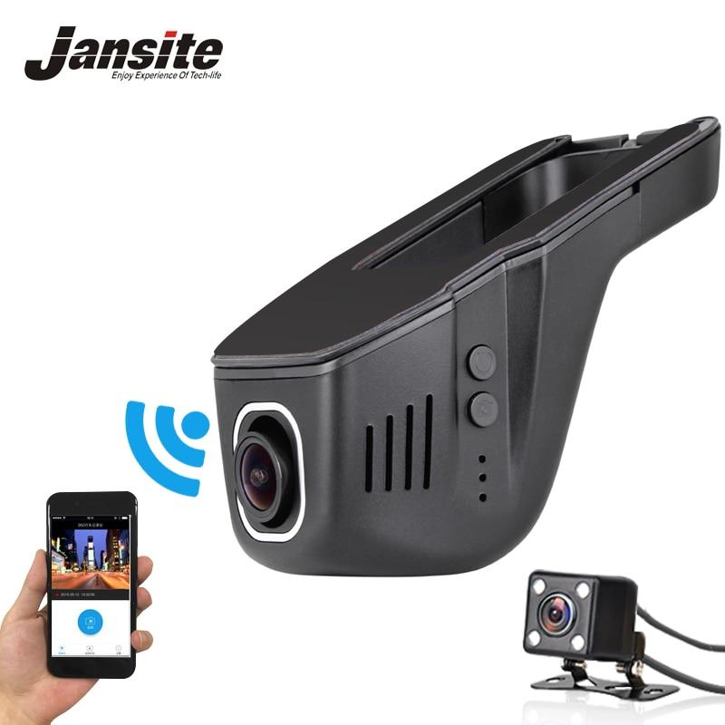 imágenes para Jansite Coche Dvr Mini Cámara Del Coche Wifi Full HD 1080 P Dash Cam Video Recorder Registrator Videocámara Dual de la Lente Dvr Control de App 2017