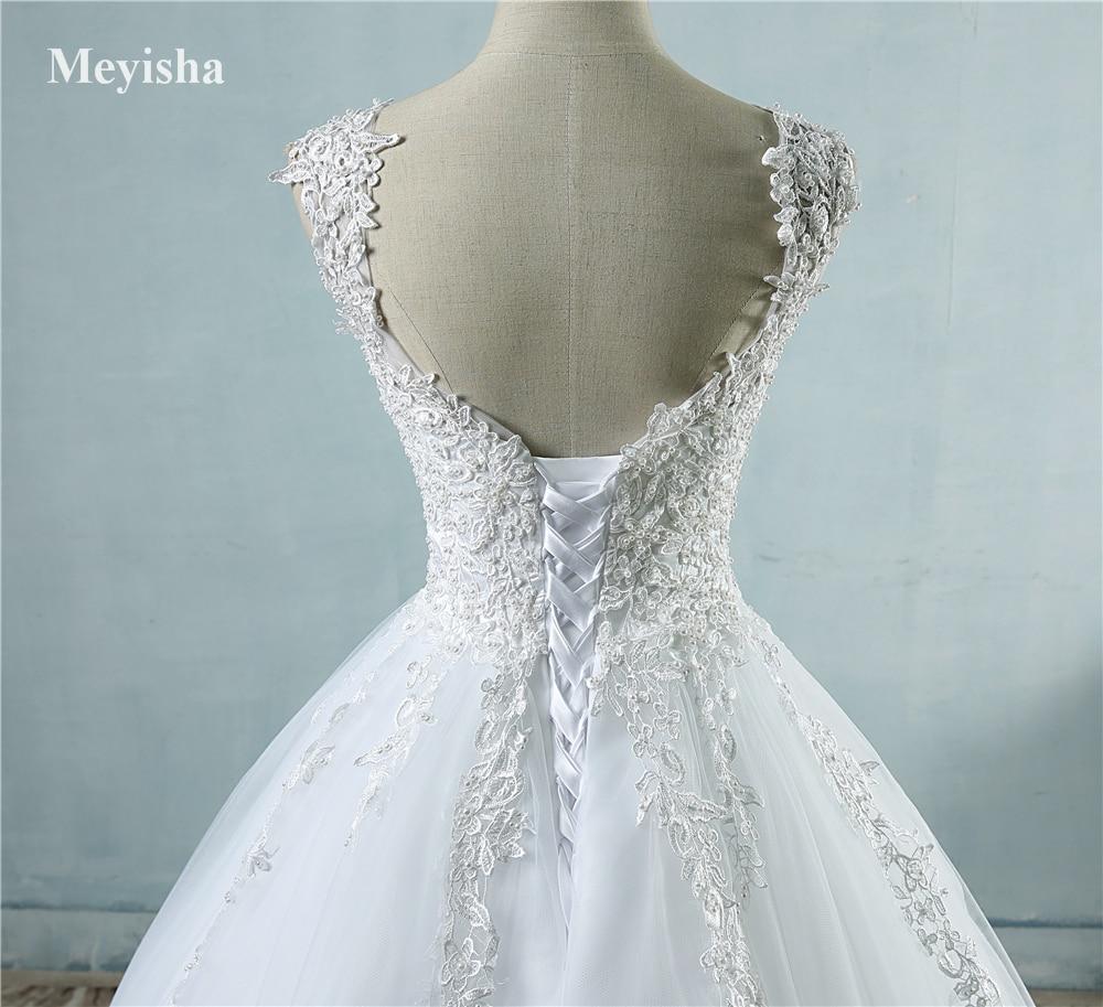 ZJ9076 nya vita elfenben kristall pärl kant brudklänningar 2017 - Bröllopsklänningar - Foto 5