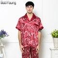 BabYoung 2017 Весна Лето Новый Мужские Пижамы Sexy V-образным Вырезом Шелковый Отпечатано С Коротким рукавом Ночную Рубашку и Длинные Пант Мужской Пижамы Hombre