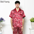 BabYoung 2017 Spring Summer New Mens Pyjama Sexy V-neck Silk Printed Short sleeve Sleepshirt and Long Pant Male Pajamas Hombre