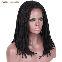 AISI HAIR Synthetic Braids Box Braids Wig Lace Front Wigs for Women with Black Bangs Short Bob Hair Heat Resistant Fiber