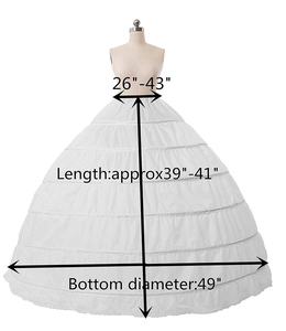 Image 5 - Fast Shipping White/Black 6 Hoops Petticoat Crinoline Slip Underskirt For Wedding Dress Bridal Gown In Stock 2018