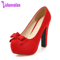 VulusValas New Thick High Heels Shoes Women Pumps Wedding Party Shoes Platform Bowknot Sex Stylish Footwear Size 33 43