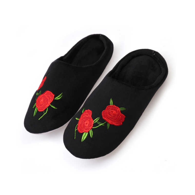 Embroidery Rose Flower Soft Bottom Women Slippers Indoor Wood Floor Shoes Half Pack Cozy Soft Stuffed Home Shoes Cotton Pantufas