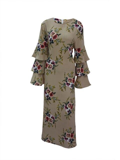 Women Marokko Kaftan Plus Size 7XL Printed Muslim Flower Dress Arabic Muslim Abaya Dress 4