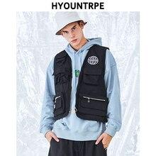 Hip Hop Sleeveless Vests Men Cargo Waistcoat With Pockets Military Jacket 2018 New Streetwear Zipper Tactical Vest Sweatshirts