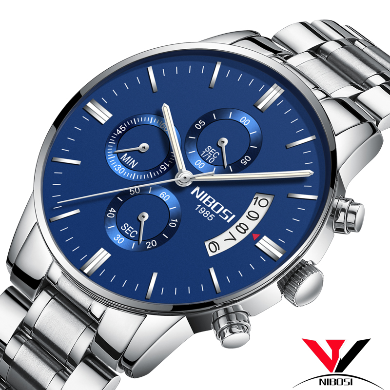 Relojes Para Hombre Deportivos NIBOSI 2018 New Business Watch Men Luxury Stainless Steel Famous Dress Male Clock High Quality(China)