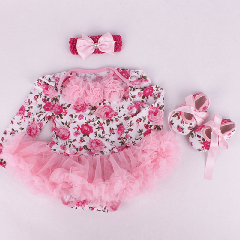 870075847c1 Newborn Baby Girl Floral Tutu Sets Pink Lace Baby Rompers Crib Shoes  Headband Girls 3 Piece Outfits New Born Baby Clothes Gift-in Clothing Sets  from Mother ...