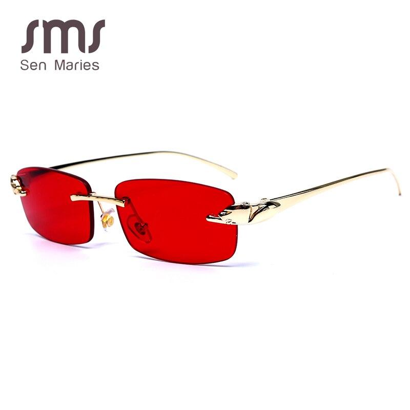Rectangle Sunglasses Lens Square Small Brand Men Clear Female Vintage UV400 Yellow Women Luxury