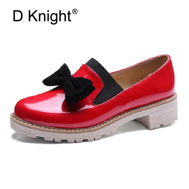 Spring Summer Oxfords Casual Bowtie Loafers Platform Shoes Woman Slip On Creepers Patent PU Leather Women Flats Shoes Size 34-43 sony fdr ax33