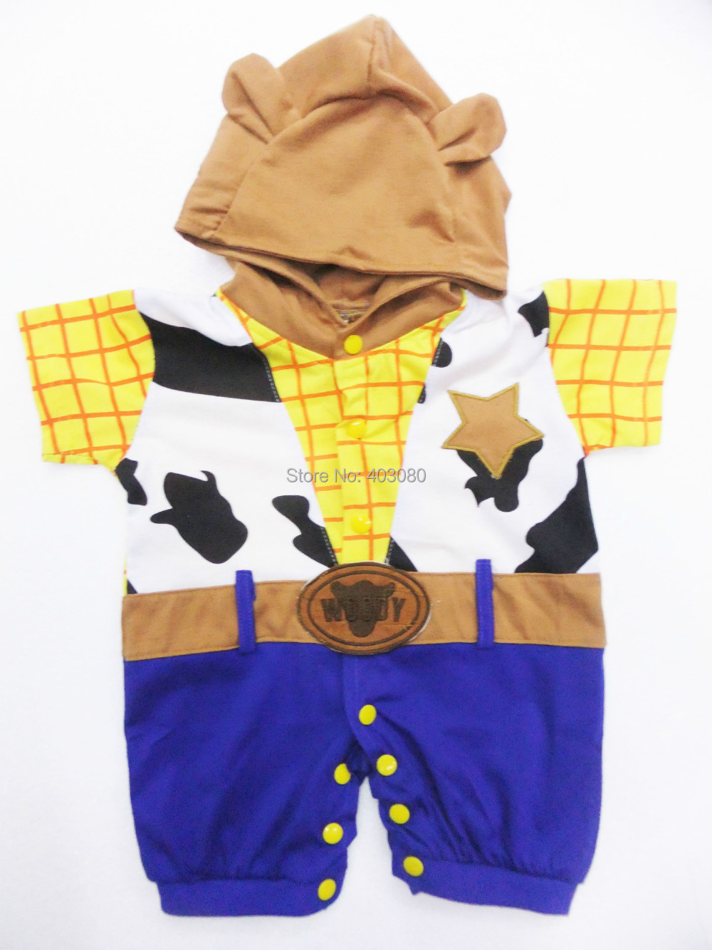 retail &wholesale yellow short sleeve cotton clothing Baby crawl clothing kid clothes rompers west cowboy plays clothing SZ-S-XL