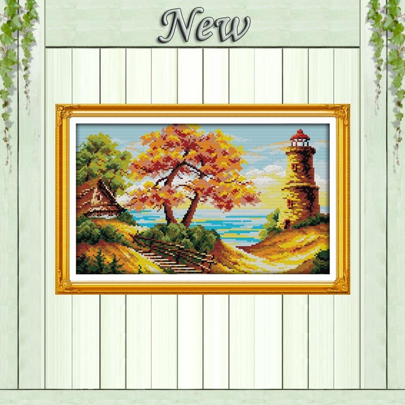 Tájkép Gyönyörű folyó és ég, 11CT nyomtatás a vászonra DMC - Művészet, kézművesség és varrás