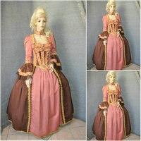 Новый коричневый Винтаж костюмы викторианской платья 1860 S Гражданская война Southern Belle Платье Мария Антуанетта платья US4 36 C 669