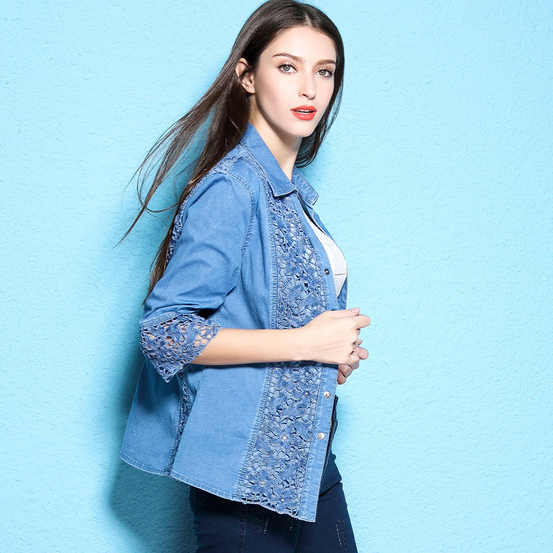 Autumn women s blouses lace hollow out shirt women s fashion denim shirt large size shirt