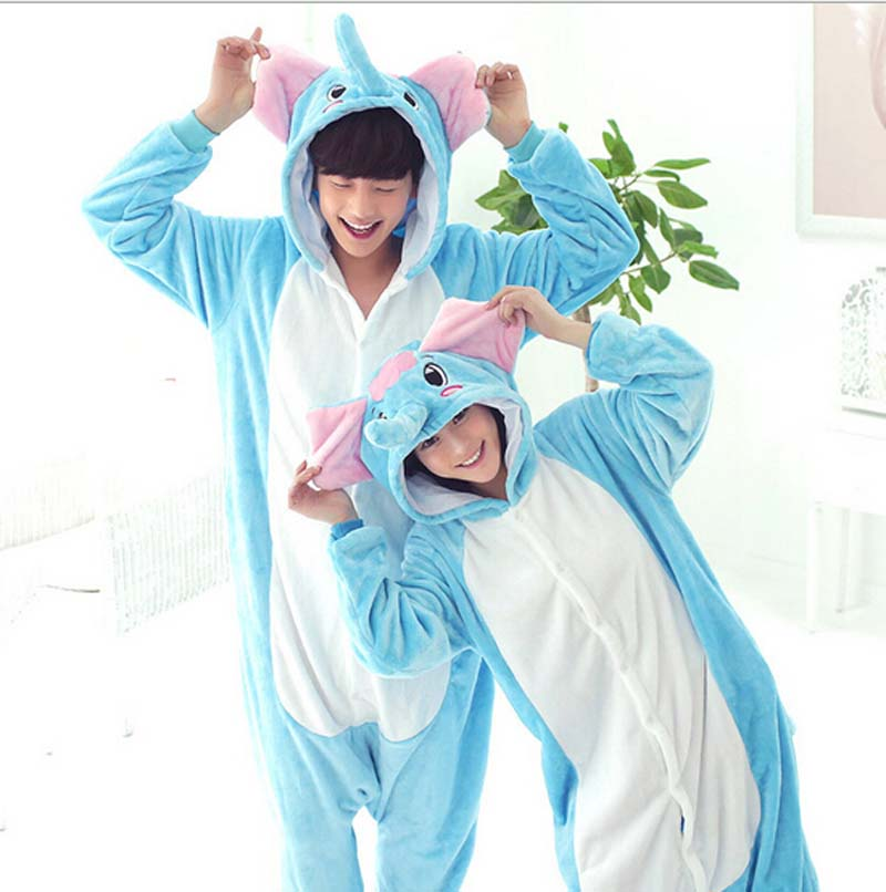Free Shipping Fashion Style Flannel Elephant Animal Pajamas One Piece Cartoon Sleepwear Unisex Adult Animal Onsies