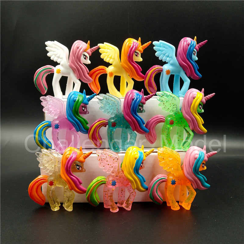 4 Pcs/set 3-5cm Cute Pvc Horse Action Figures Toy Doll Earth Ponies Unicorn Pegasus Alicorn Bat Pony Figure Dolls For Girl