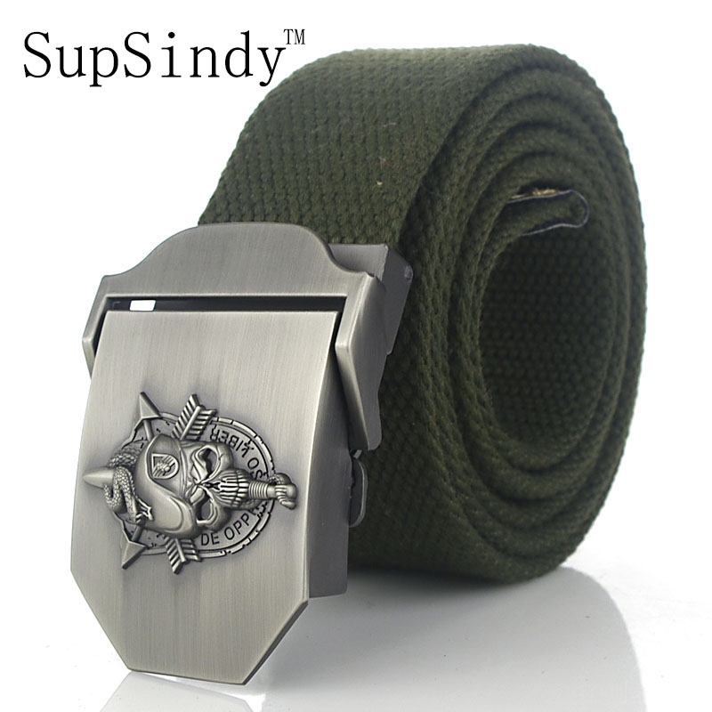 SupSindy men's canvas belt Skull Snake metal buckle military belt Army  tactical belts for Male top