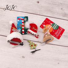 JOJO BOWS 2pcs Christmas Hair Clip Tree Hat Headwear Accessory For Girl Kid Holiday Party Decoration DIY Material