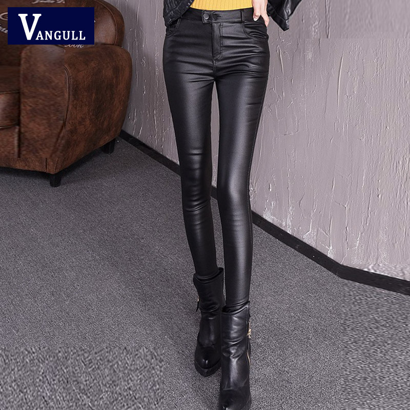 Vangull Autumn Women's Leather Pants Female Winter High Waisted Pants Leather Trousers Women PU Skinny Stretch Pencil Pantalons
