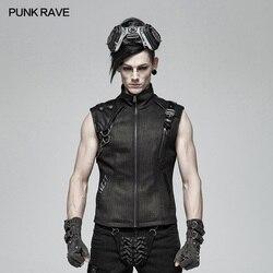 PUNK RAVE Punk Mannen Knappe Vest Mode Club Party Pu Leer Metalen Vest Steampunk Persoonlijkheid mannen Militaire Vest