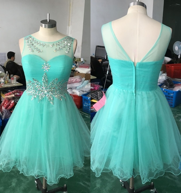 Mint Green Cute Juniors Short Cocktail Party Dresses Beaded Crystals ...