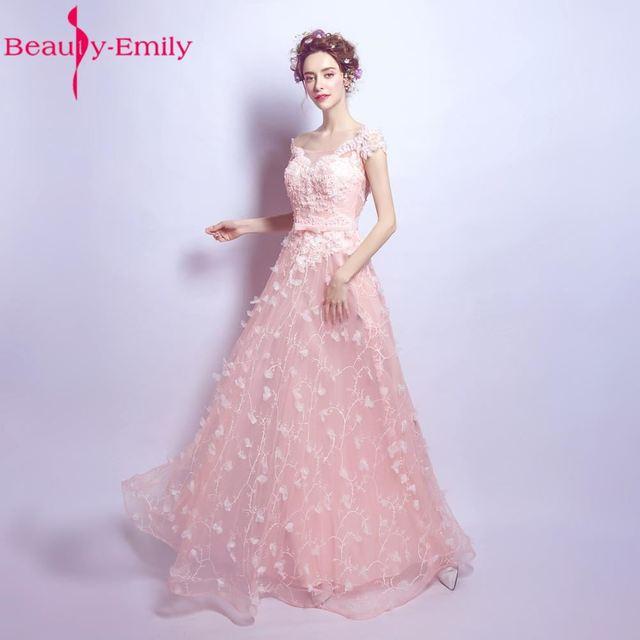 New Design Pink lace Long Evening Dresses A line O neck Floor Length ...