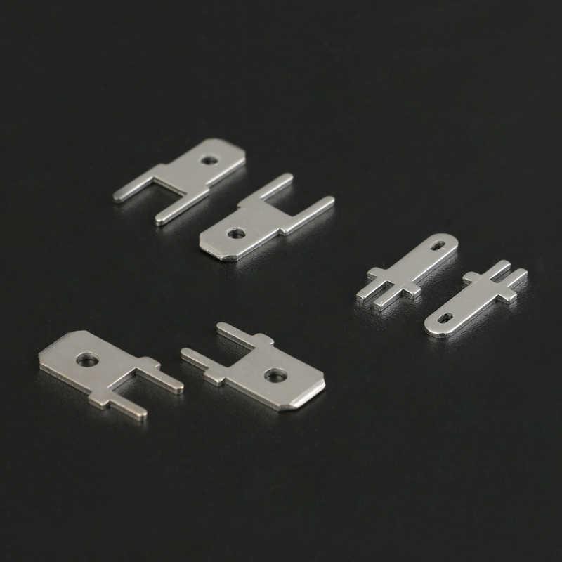 50 pcs 2.8/4.8/6.3 MM insère la cosse de soudure de carte PCB de borne mâle de prise épaisseur 0.8 deux jambes, feuille de soudure de carte PCB