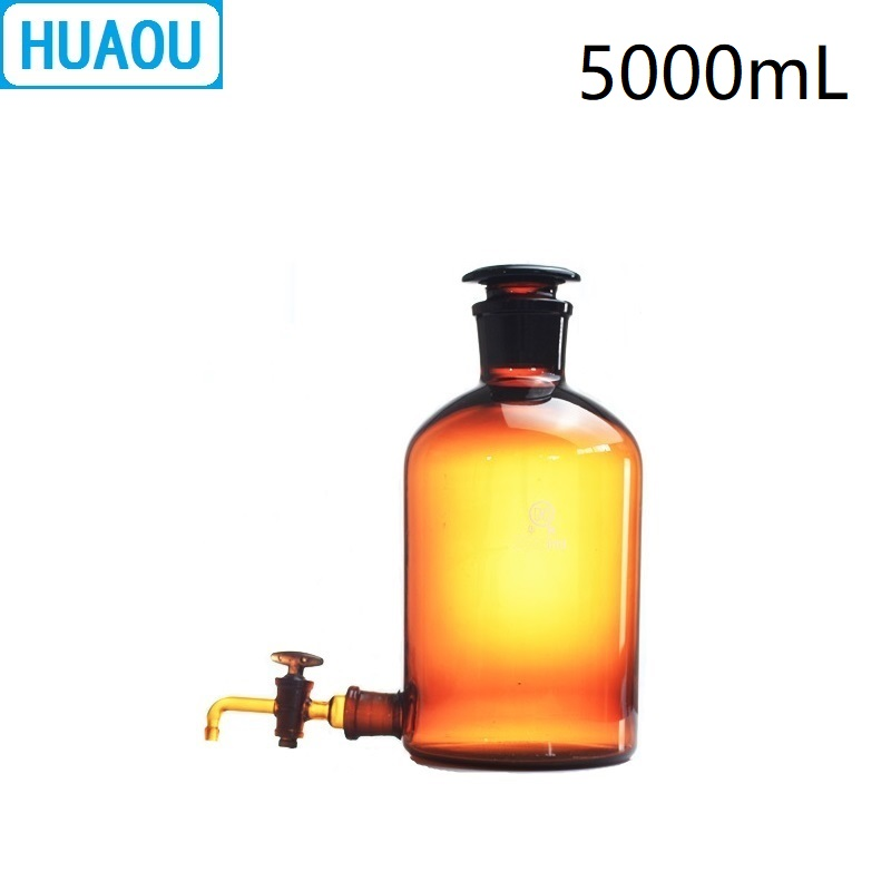 HUAOU 5000mL Aspirator Bottle 5L Amber Brown with Ground - In Glass Stopper and Stopcock Distilled Water Wine Liquor 5000ml glass bottles of distilled water labware