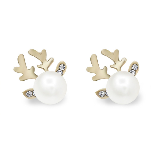 new holiday elegant christmas pearl earrings female smallgoldkoreanwomen earrings deer - Elegant Christmas