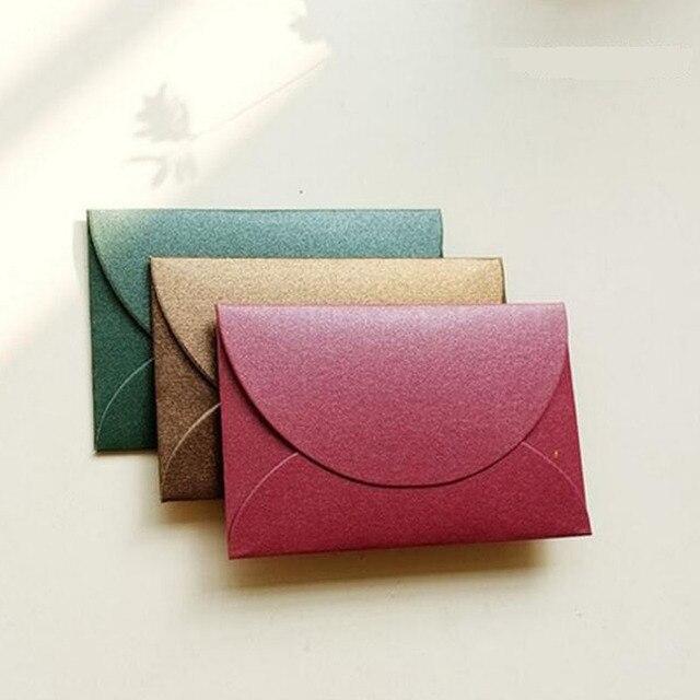 100 Sztuk Ręcznie Mini Koperty Rocznika Kolorowe Pearl Puste Papieru