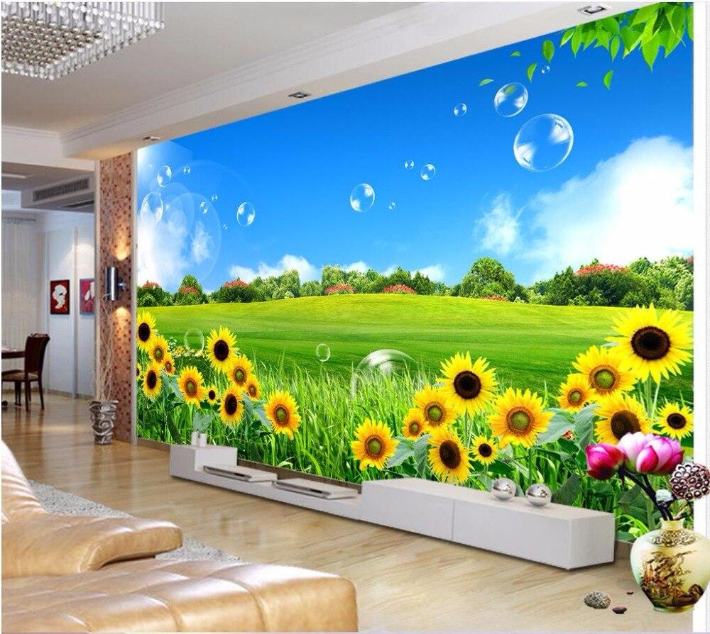 Kustom Mural 3d Wallpaper Pemandangan Indah Indah Bunga Matahari