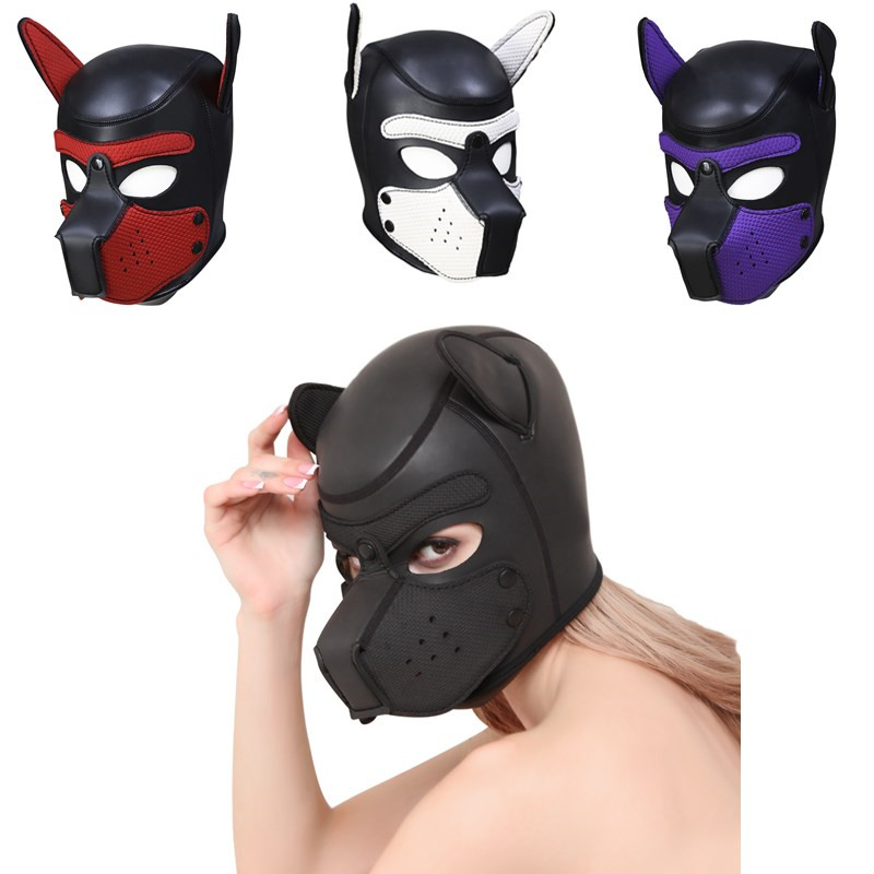 New Sexy Women Girls Cosplay Props Dog Mask Role Playing Rubber Full Face Helmet Soft Latex Puppy Mask Sex Lady