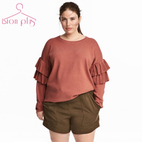 Brick Red Pullover Sweater Women 5XL 6XL 4XL Big Sizes 2017 Autumn Sleeve Lapped Ruffles O Neck Long Sleeve Loose Style Sweaters