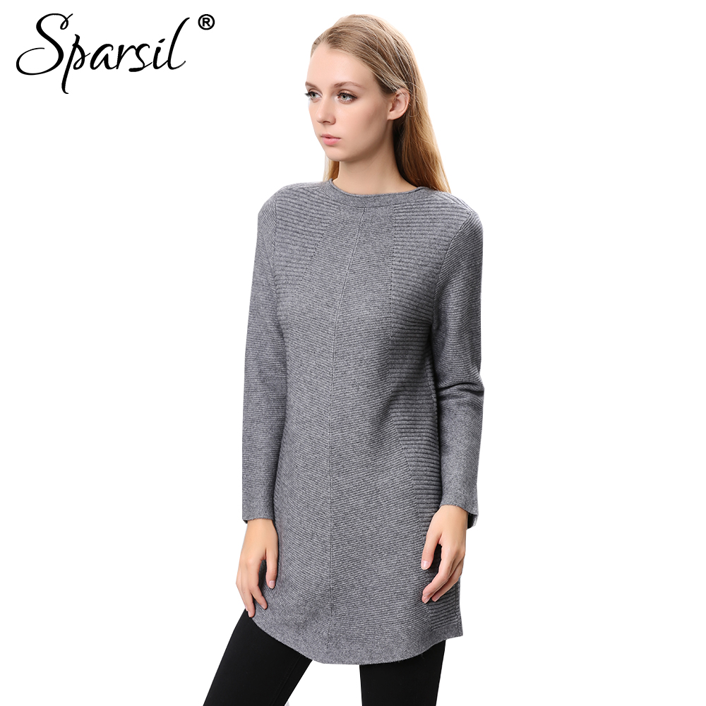 Sparsil Women Winter Cashmere Long Sweaters O Neck Three Quarter ...