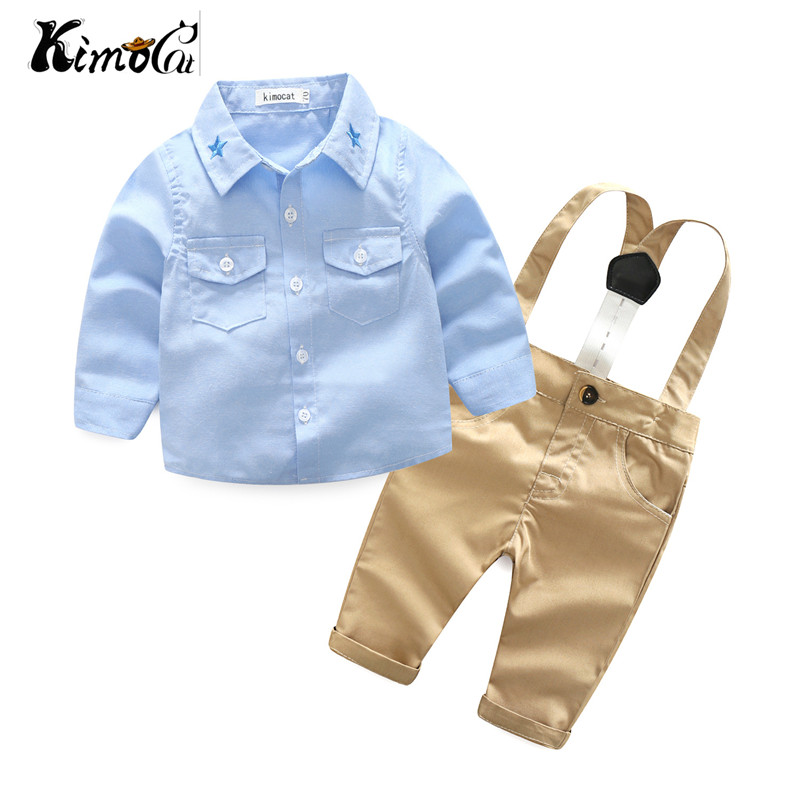 Kimocat Young baby spring fall new suit boy gentleman long sleeve star collared shirt with two pieces of trousers kimocat boy and girl high quality spring autumn children s cowboy suit version of the big boy cherry embroidery jeans two suits