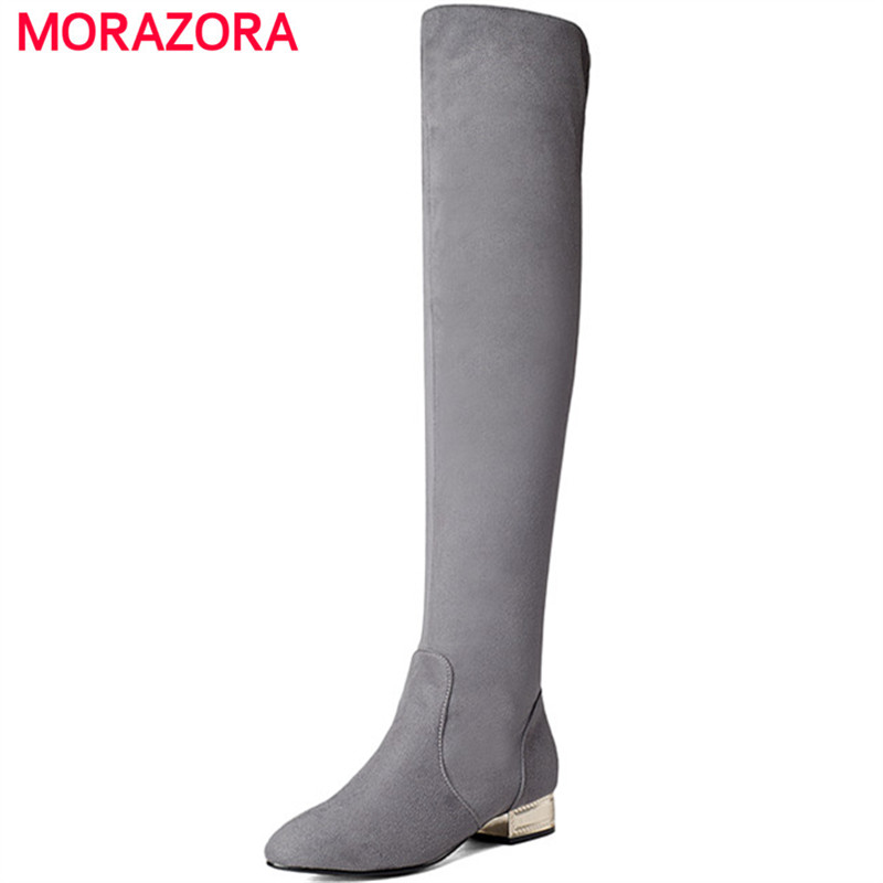 MORAZORA Flock solid med heels shoes woman autumn winter over the knee boots female pointed toe fashion boots elegantMORAZORA Flock solid med heels shoes woman autumn winter over the knee boots female pointed toe fashion boots elegant