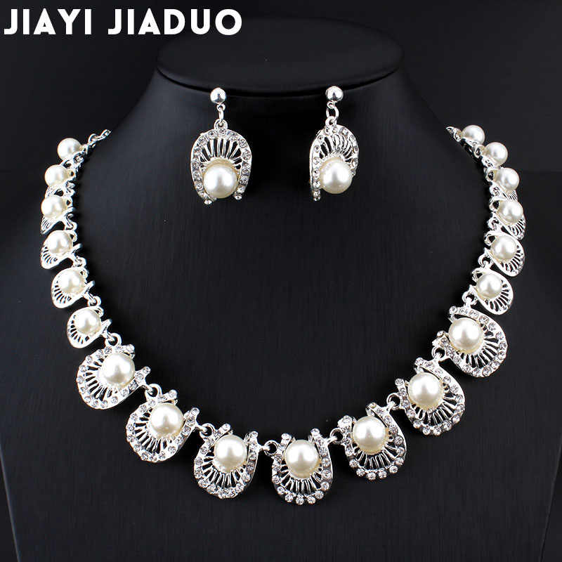 jiayijiaduo Simple Bridal jewelry sets Imitation pearl Silver color necklace/earring  for women clothing wedding accessories 072