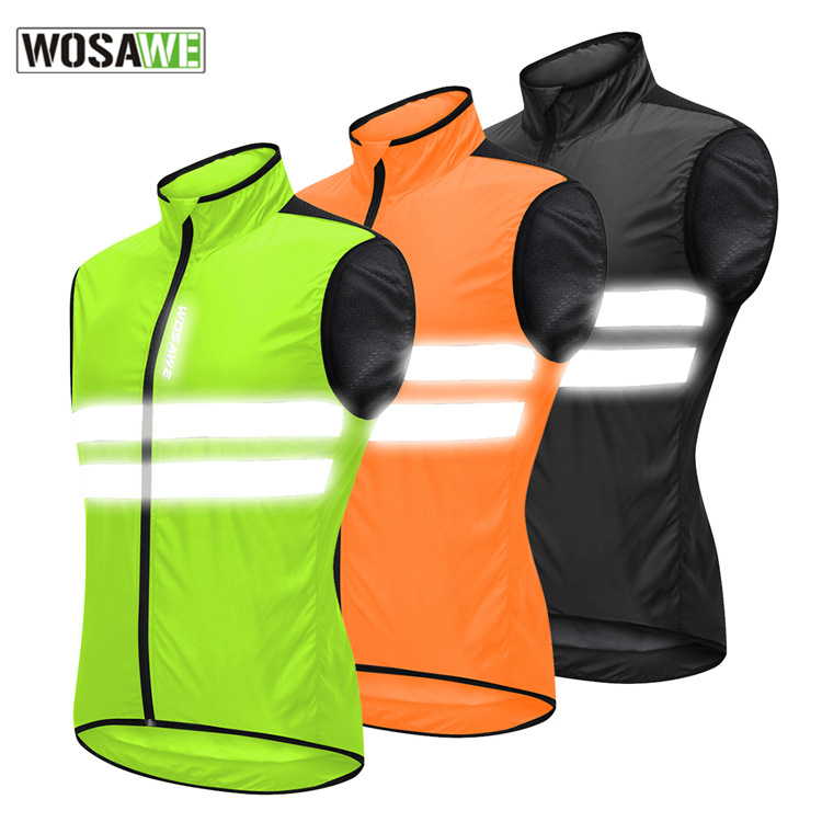 3XL Men/'s Hi-Viz Safety Running Cycling Vest M Windproof /& Reflective
